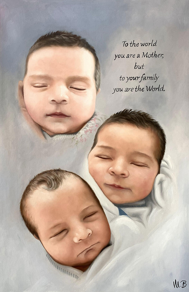Gorgeous oil painting of three babies with a custom text