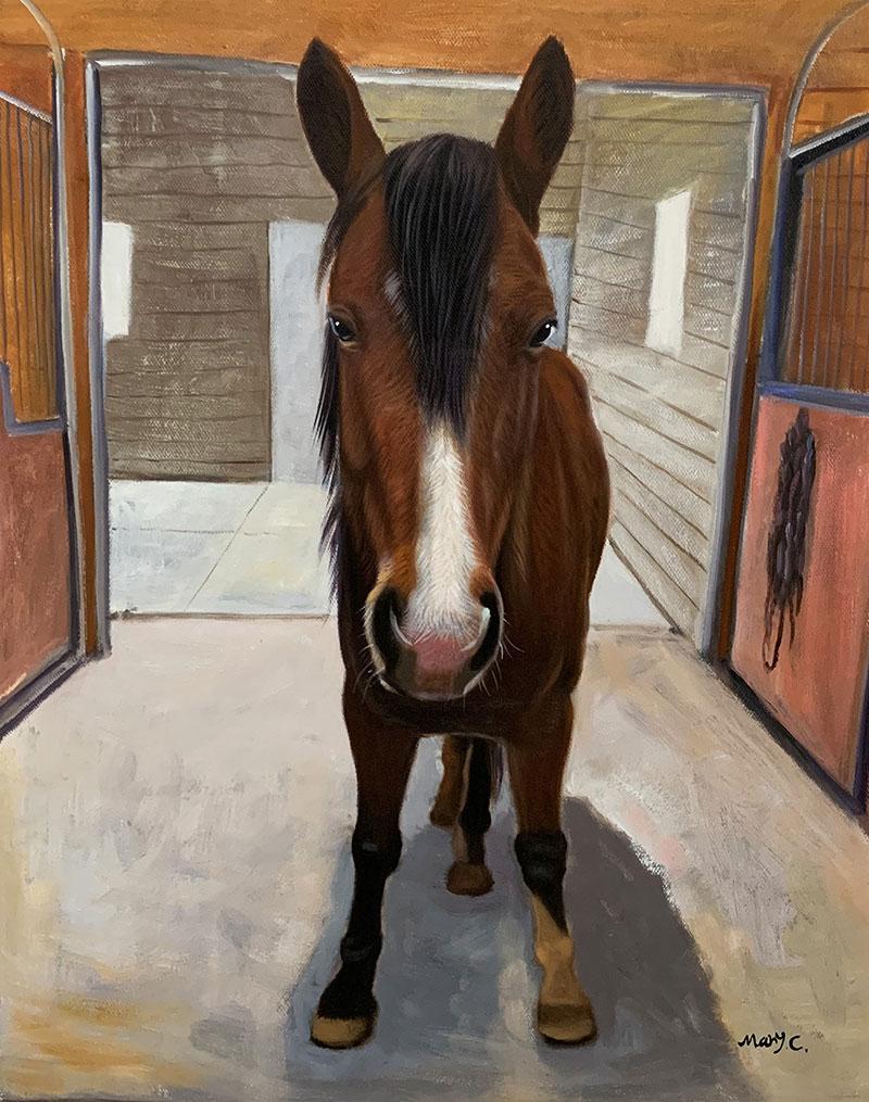 Custom handmade oil artwork of a horse