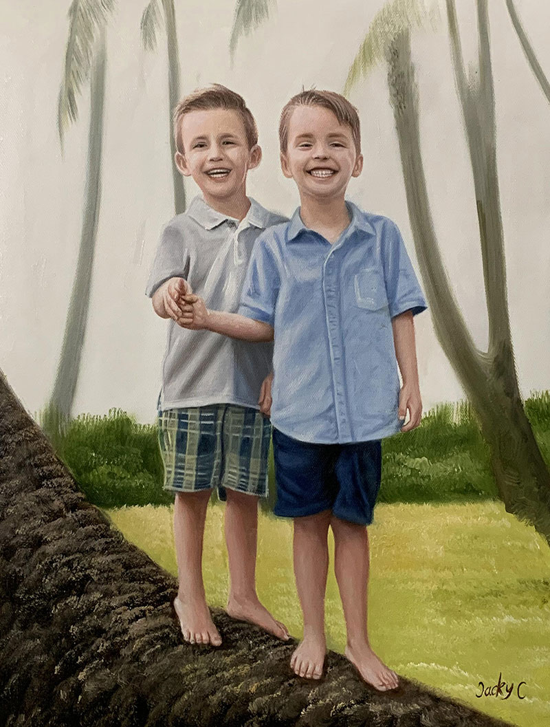 Beautiful handmade oil painting of two boys