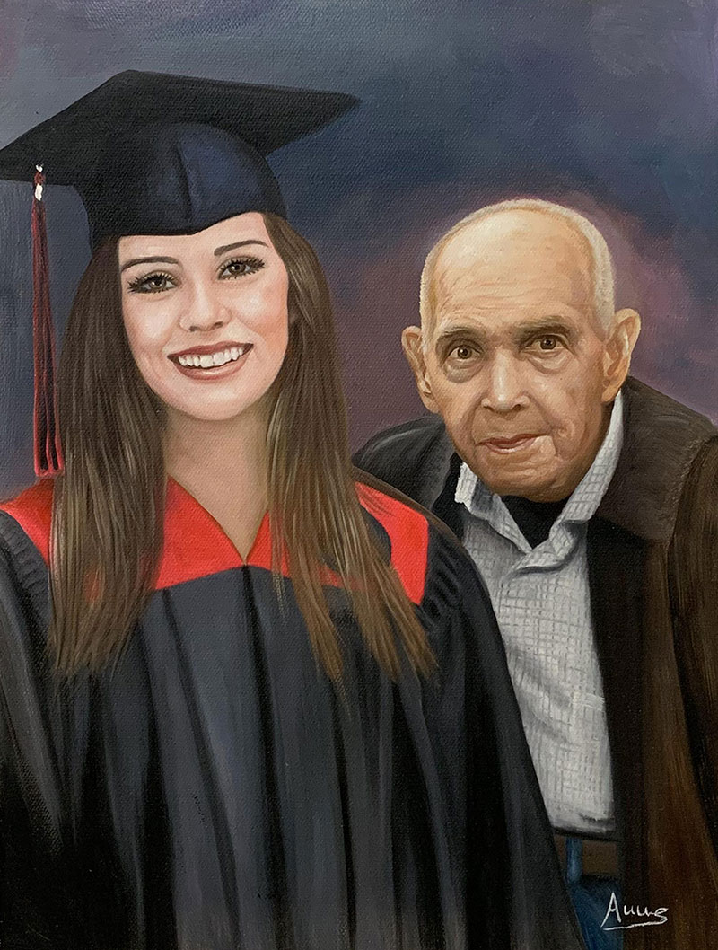 Beautiful acrylic painting of a grandfather and a gradchild