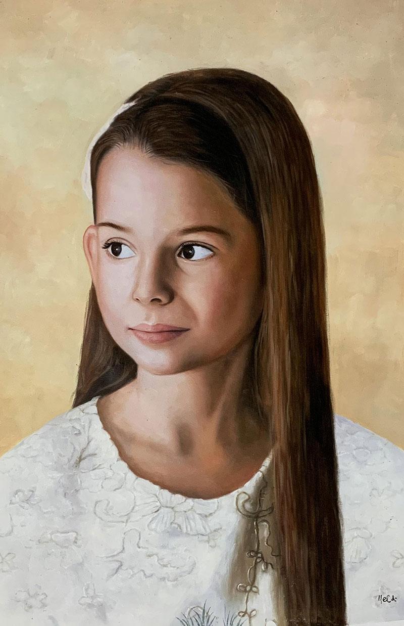 Gorgeous handmade oil portrait of a girl