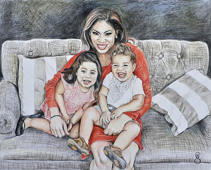Gorgeous color pencil painting of a mother and children
