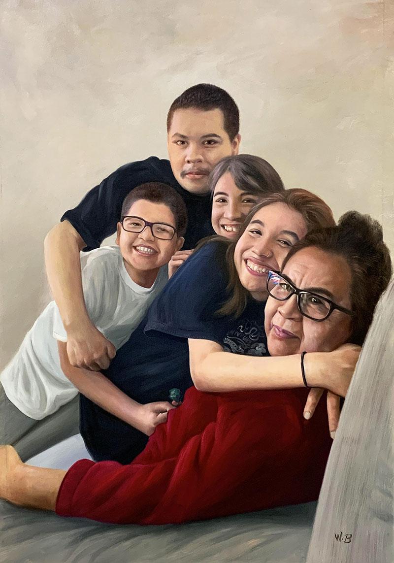 Beautiful handmade oil artwork of a happy family