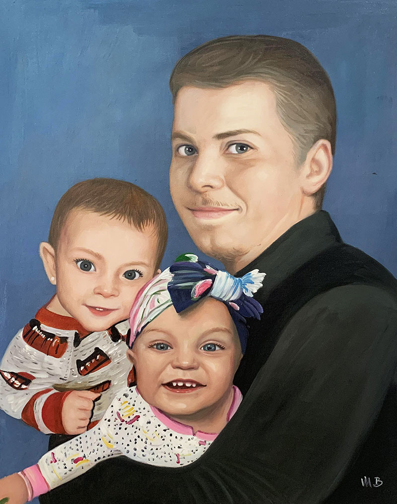 Beautiful oil painting of a father and children
