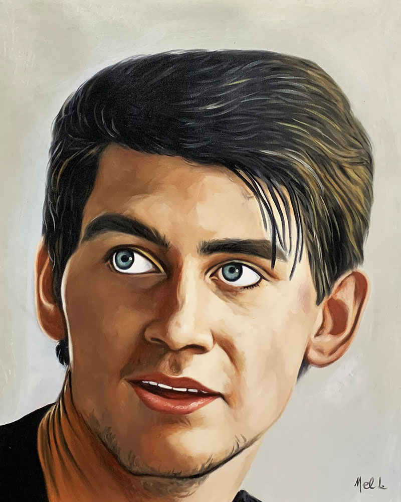 Custom oil portrait of a man with a solid background