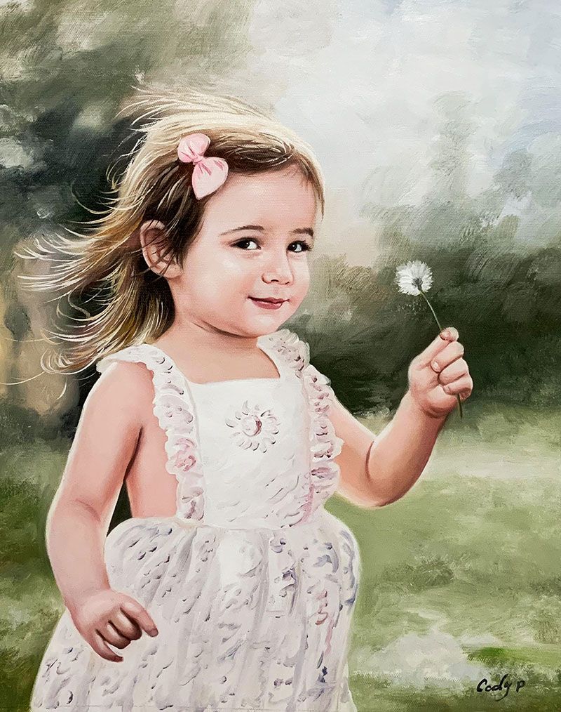 Gorgeous oil portrait of a little girl with a flower