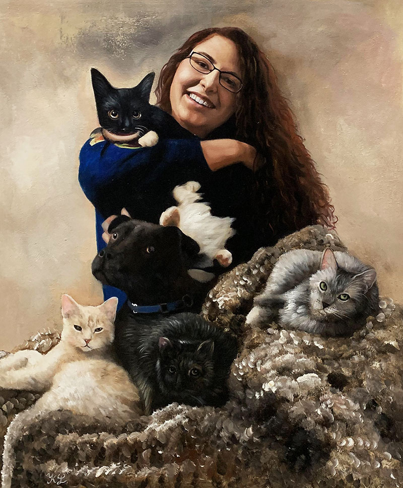 Beautiful handmade acrylic painting of a lady with five pets