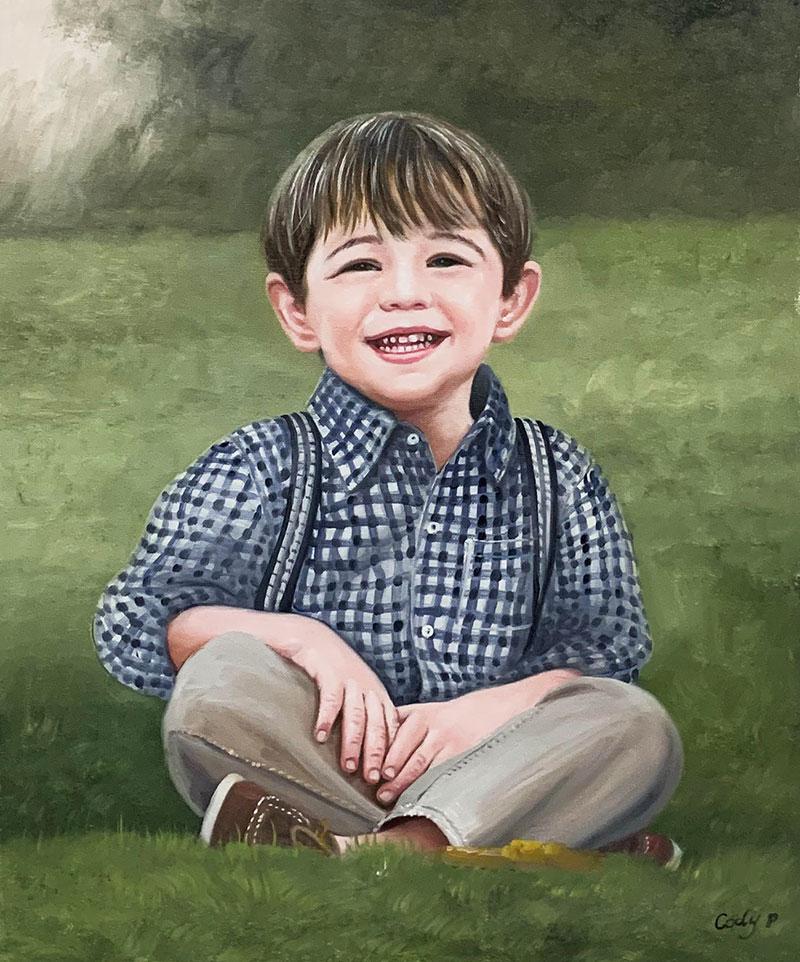 Beautiful oil portrait of a little boy