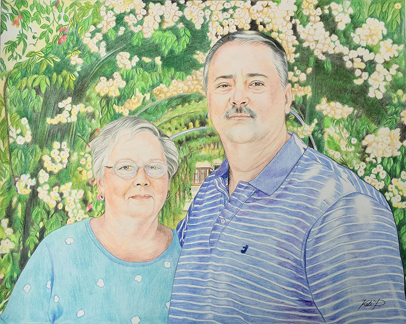 Beautiful color pencil painting of a loving couple