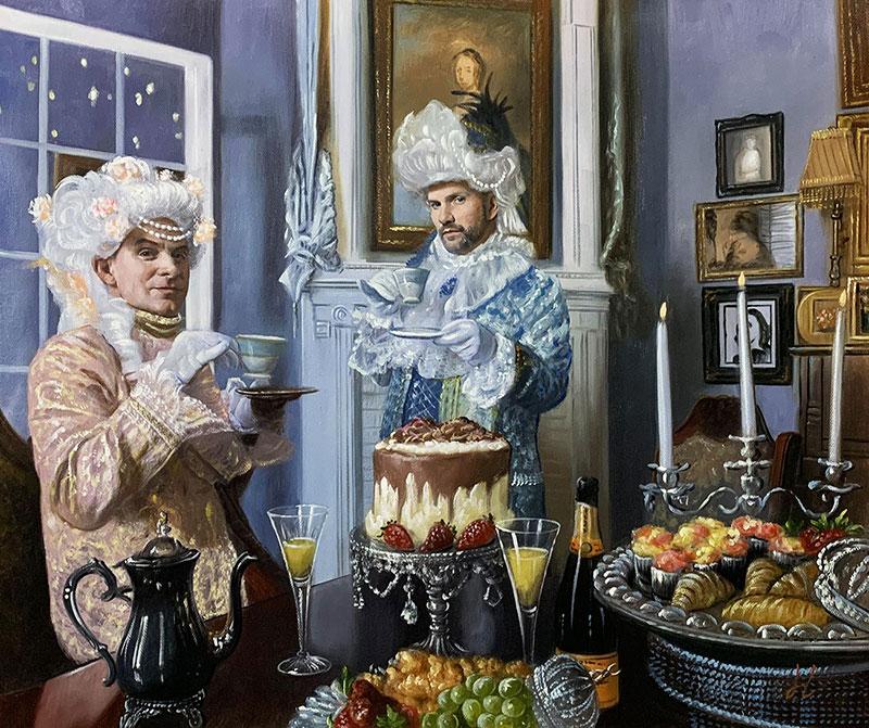 Custom handmade oil painting of two men drinking tea