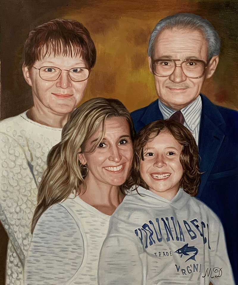 Custom handmade oil painting of a happy family