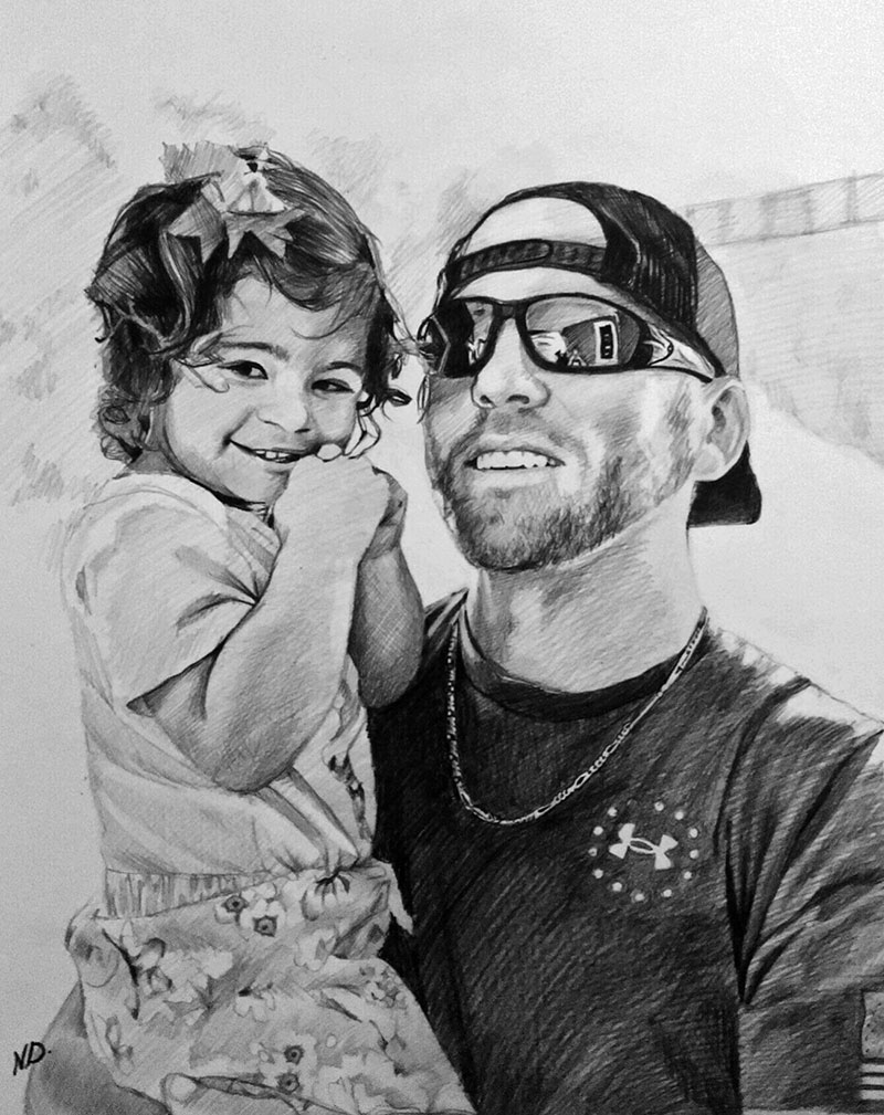 Beautiful charcoal artwork of a father and a daughter