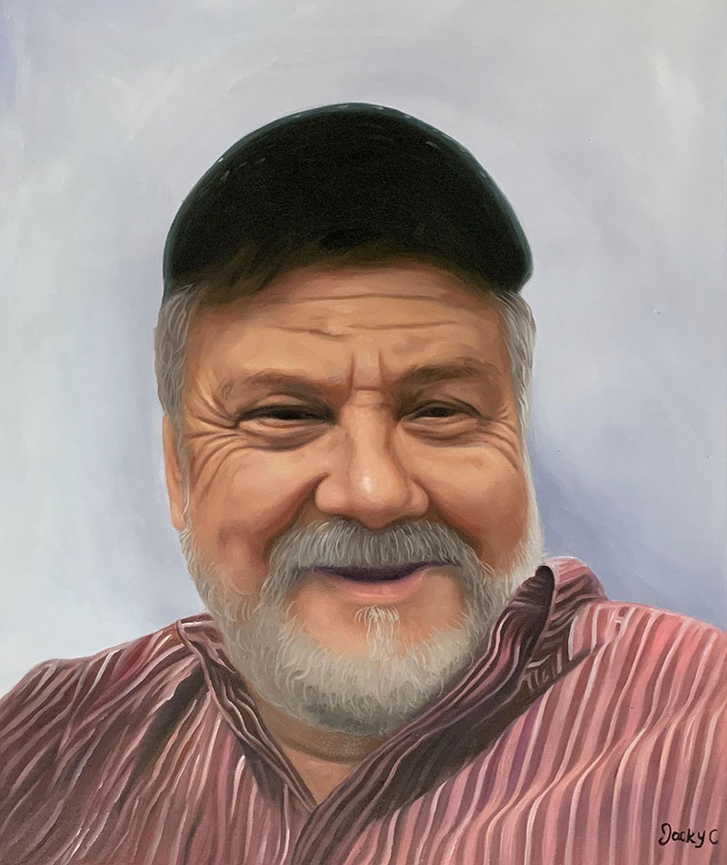 Personalized oil portrait of a man with a cap