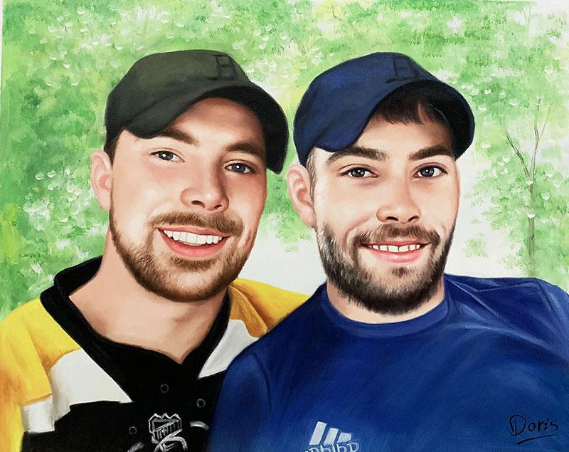 Custom acrylic artwork of two friends