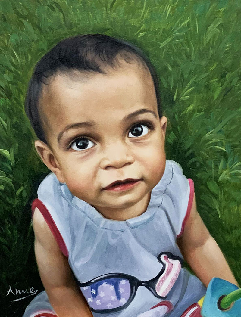 Gorgeous close up oil portrait of a baby