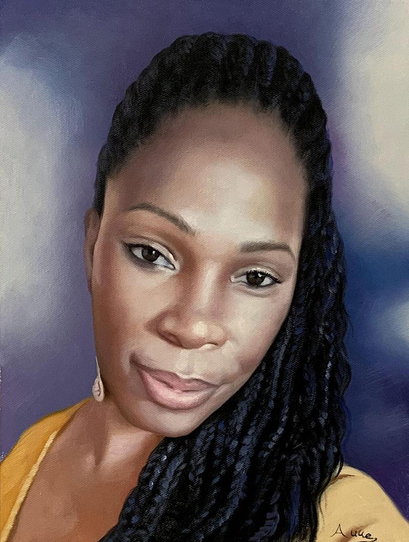 Gorgeous close up acrylic portrait of a lady