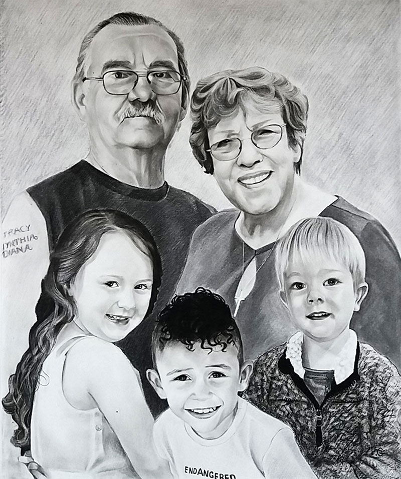 Personalized charcoal painting of a happy couple with kids