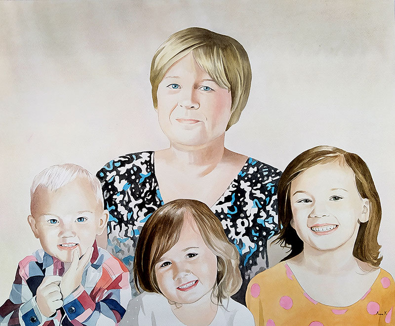 Beautiful watercolor artwork of a woman with three kids