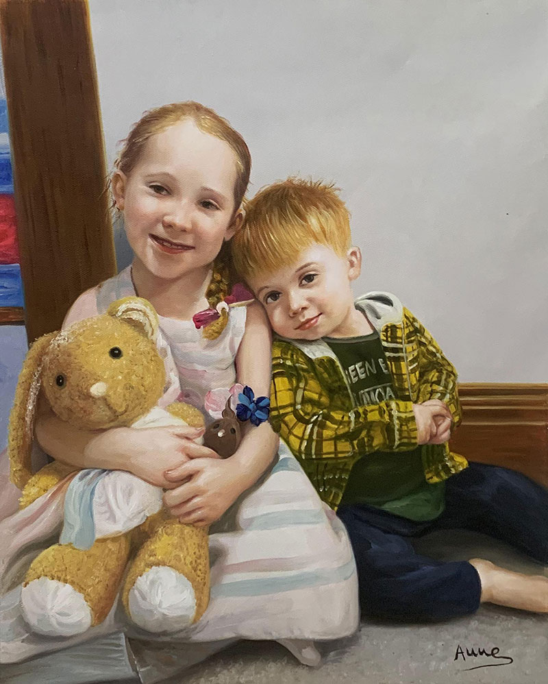 Personalized oil painting of the siblings
