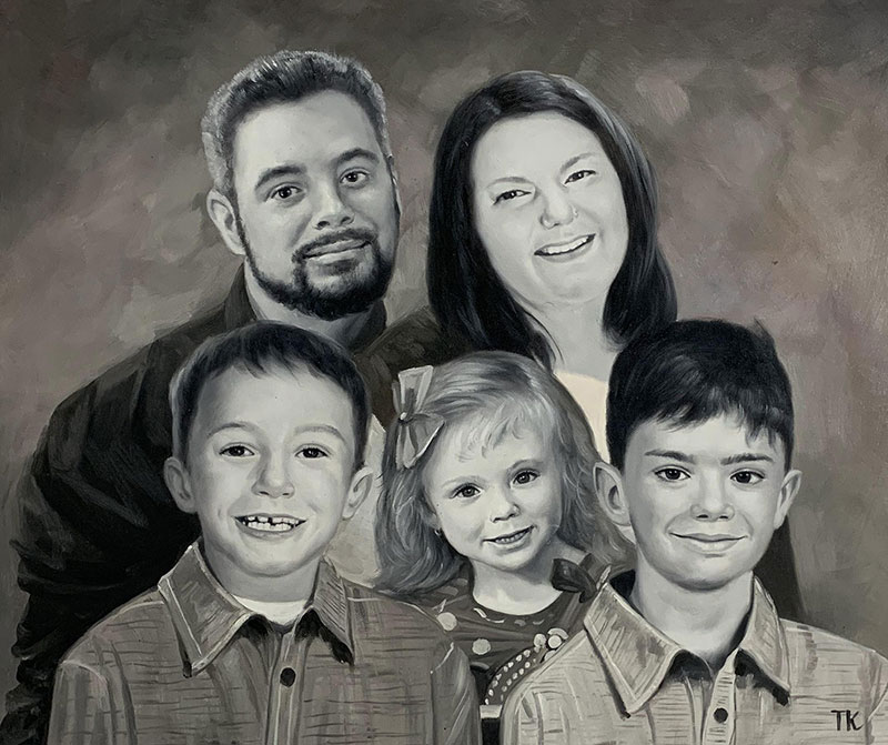 Beautiful black and white oil painting of a family