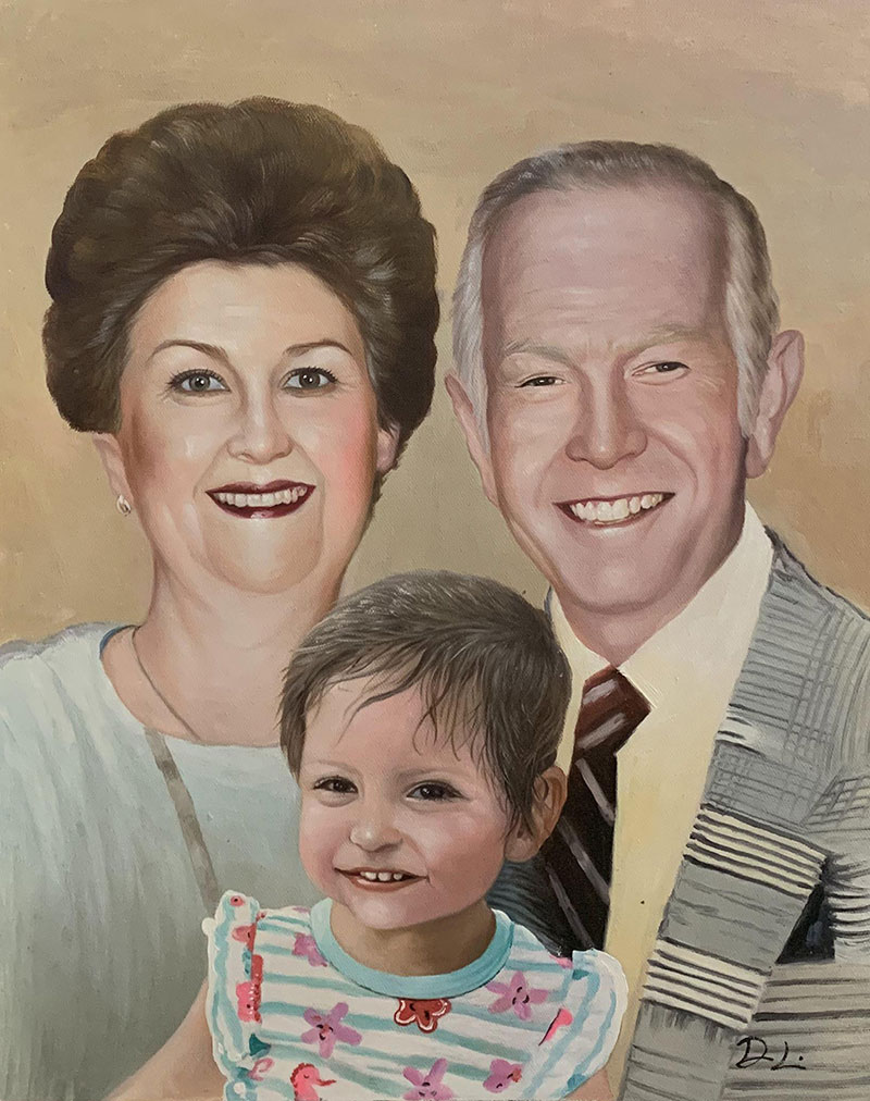 Custom oil painting of grandparents and a grandchild