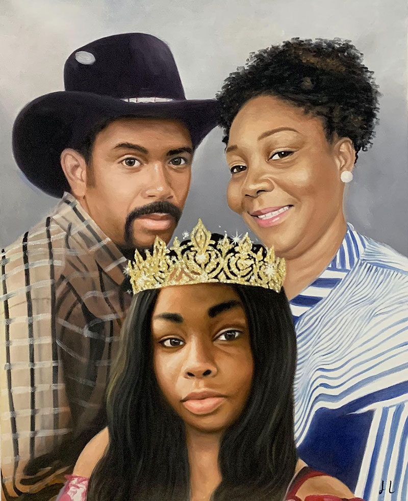 Gorgeous oil painting of parents and a daughter with crown