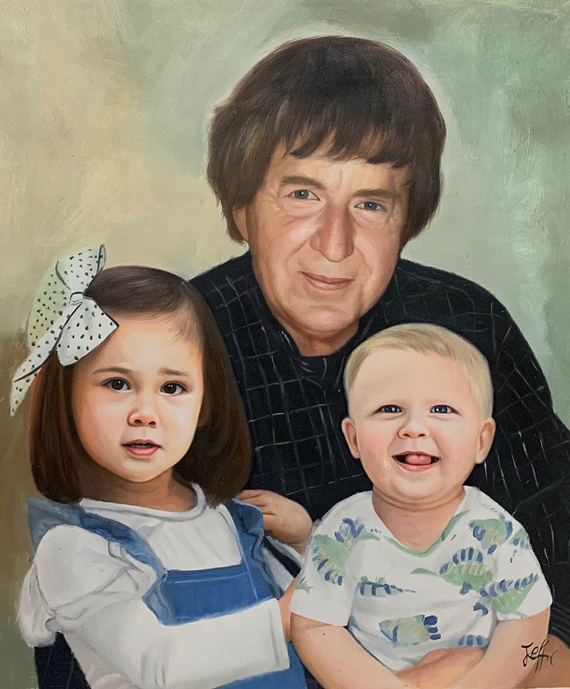Beautiful oil artwork of a man with two kids