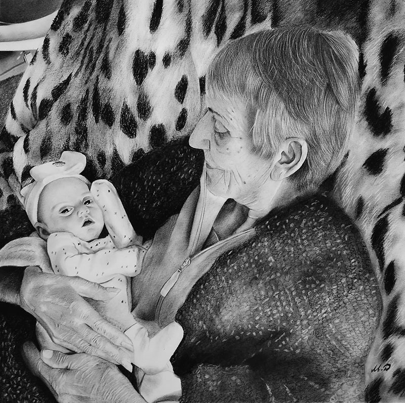 Beautiful charcoal portrait of a grandmother and a baby