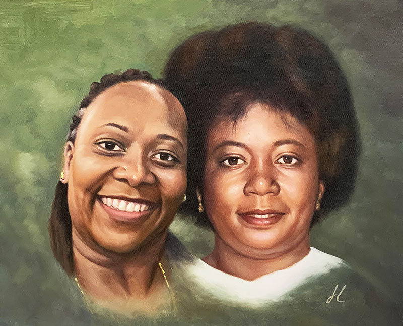 Custom oil painting of the two women with a solid background