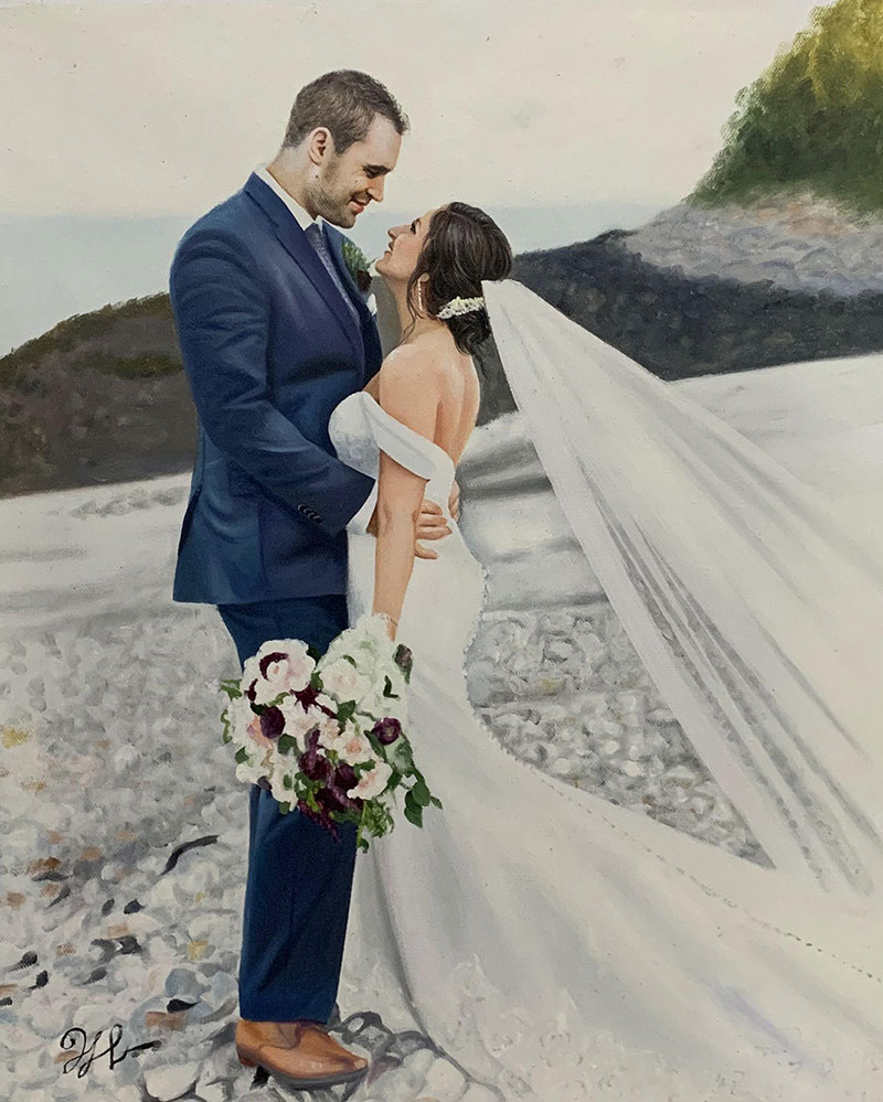 Gorgeous oil painting of a bride and a groom