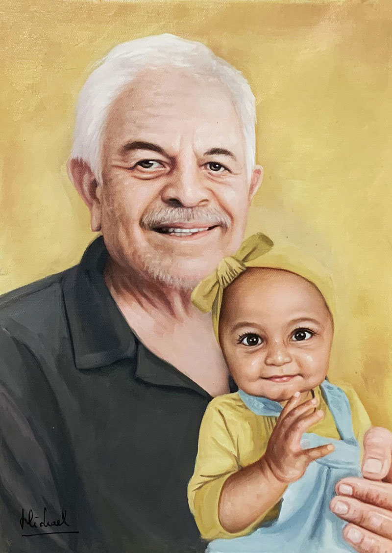 Beautiful oil painting of a grandfather with a granddaughter