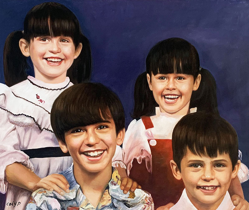 Beautiful oil painting of four children with a solid backgro