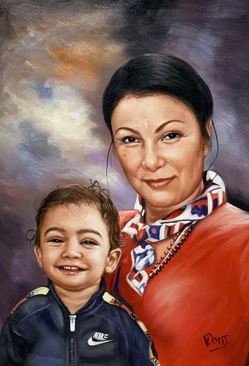 Custom oil painting of a woman with a baby