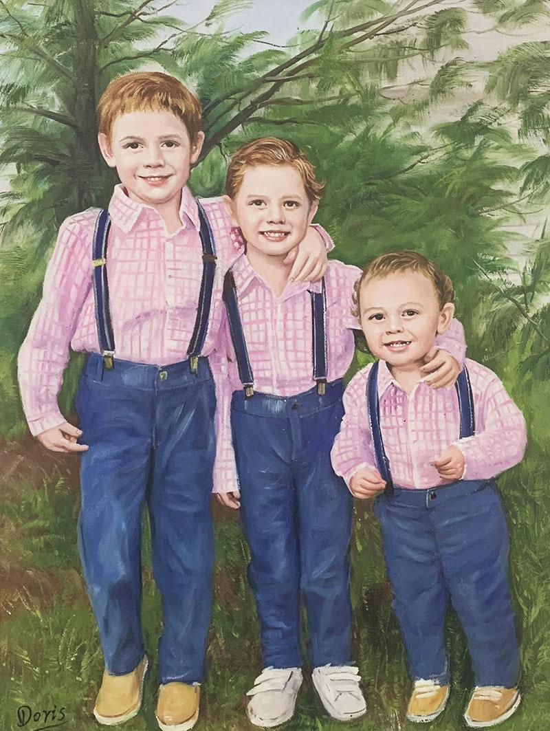 Custom handmade oil painting of three children