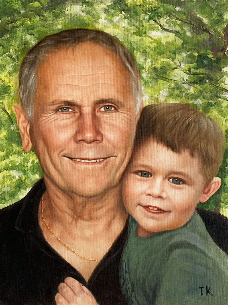 Custom oil artwork of a man with a little boy