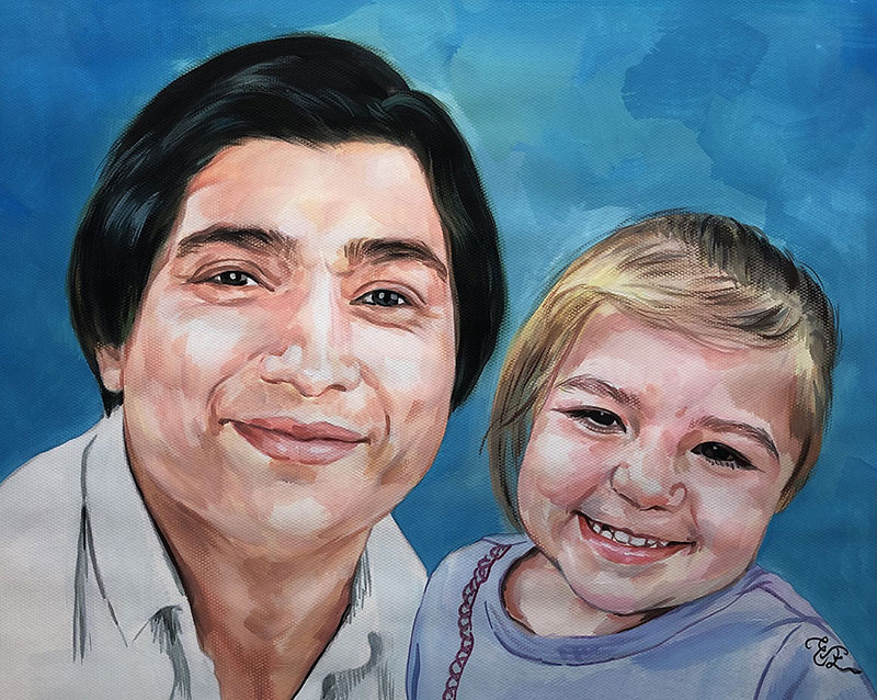 Gorgeous handmade pastel artwork of a grandmother and child