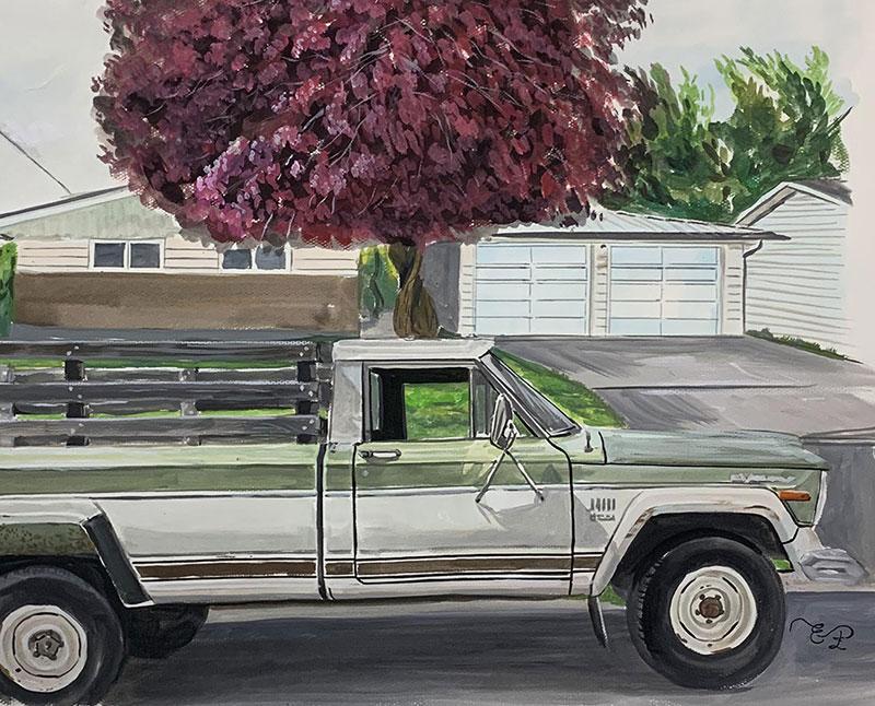 Custom handmade oil artwork of a car
