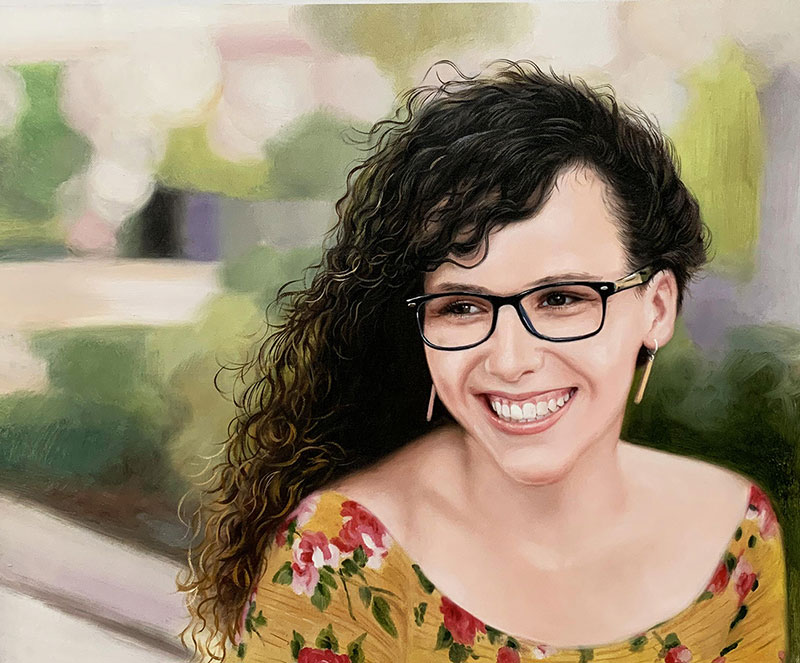 Personalized oil artwork of a woman with glasses