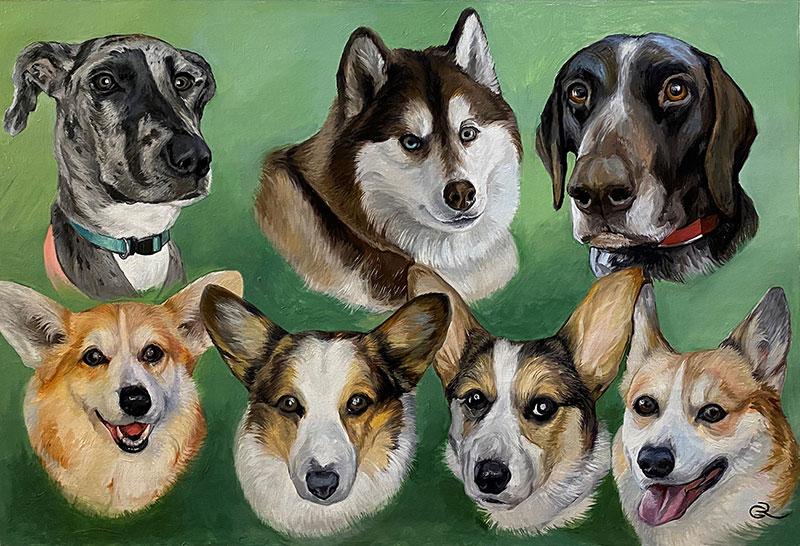 Custom handmade oil artwork of seven dogs