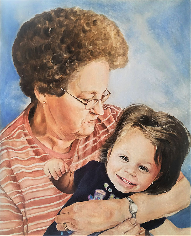 Beautiful oil painting of a grandmother and a grandchild