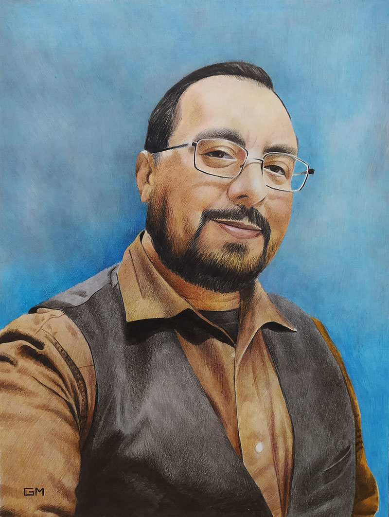 Personalized color pencil painting of a man with glasses