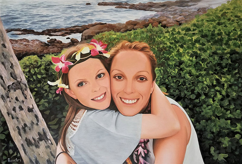 Gorgeous oil artwork of a mother and daughter