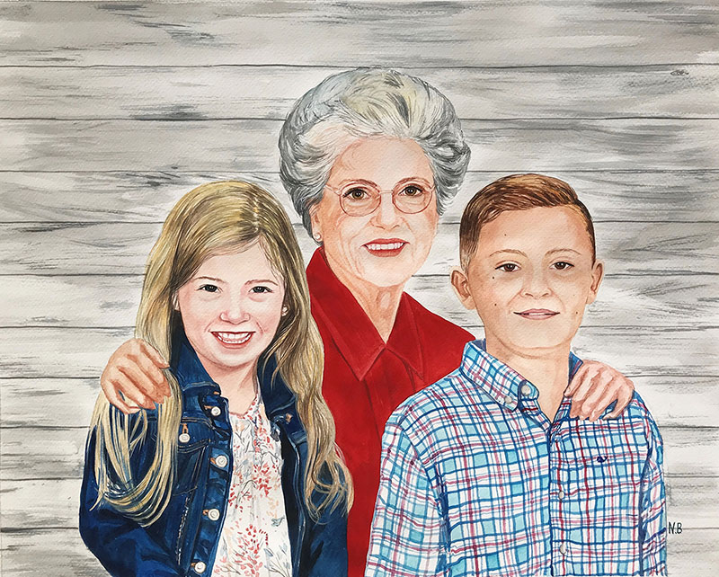 Beautiful watercolor painting of a grandmother with kids