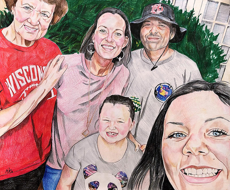 Beautiful handmade color pencil painting of a happy family