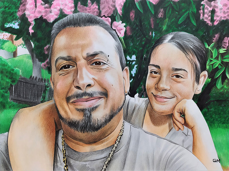 Gorgeous color pencil painting of a father and daughter