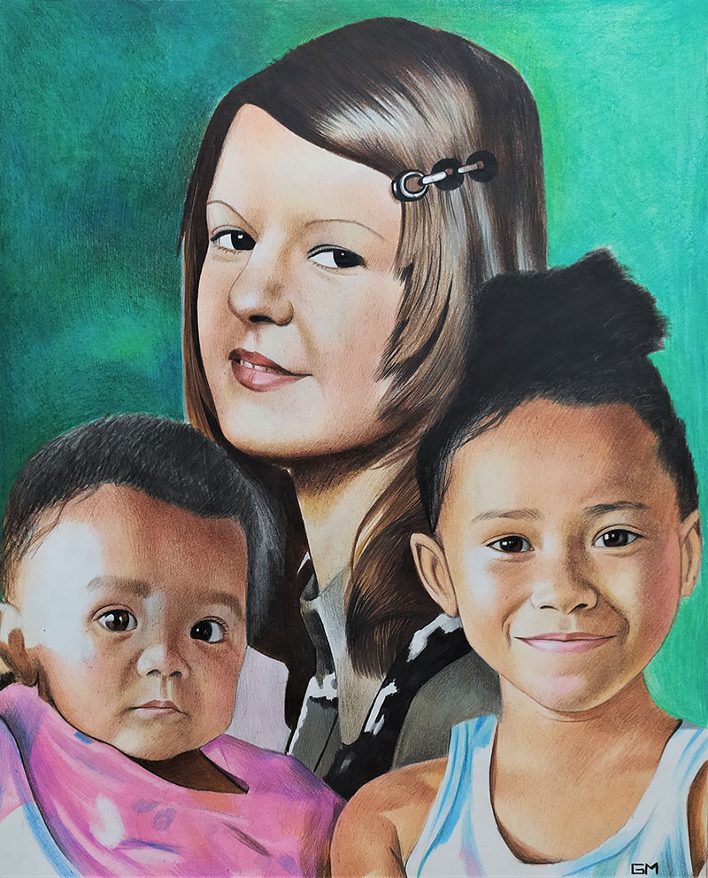 Beautiful color pencil painting of a family
