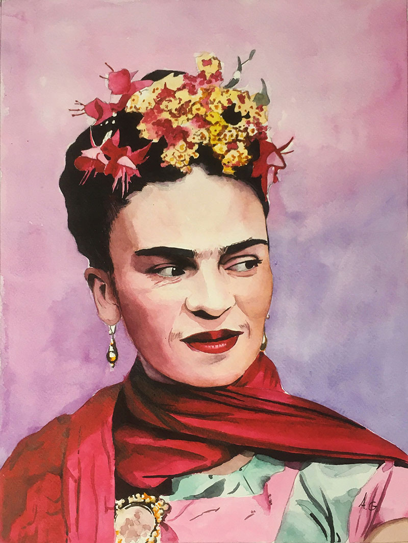Gorgeous watercolor painting of Frida Kahlo