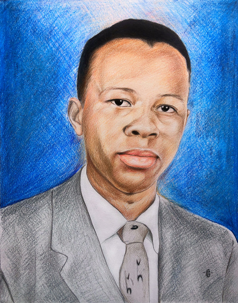 Personalized color pencil painting of an adult