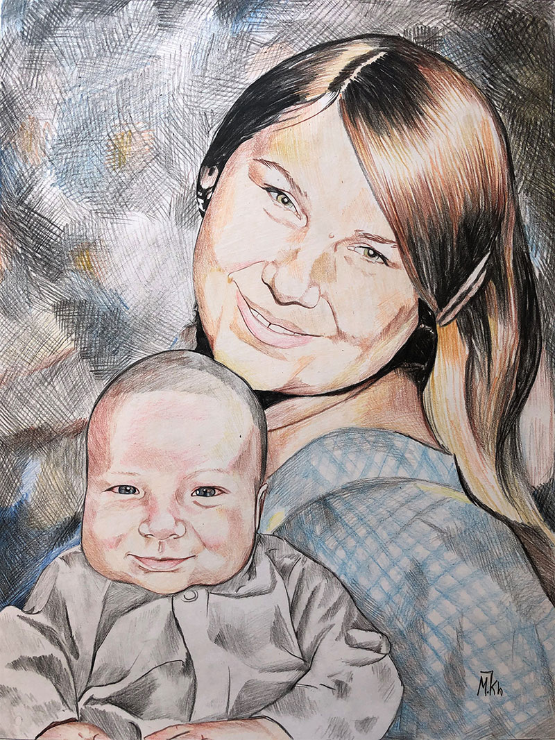 Custom color pencil painting of a mother and a baby