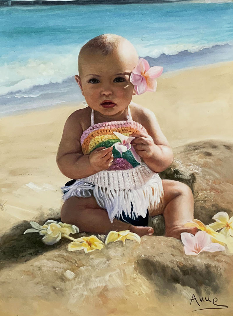 Beautiful oil portrait of a baby by the sea